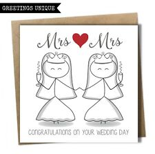Fun Congratulation Wedding Day Card Mrs and Mrs Bride Same Sex Gay Civil Wedding