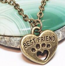 """on 18"""" Chain Necklace_Dog Cat Pet_13N Best Friend Paw Print_Small Bronze Pendant"""