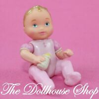 Fisher Price Loving Family Dollhouse People Twin Pink Baby Girl Doll Bottle