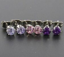Set Of 3 Stainless Steel Hypo-Allergenic Coloured cz Stud Earrings.