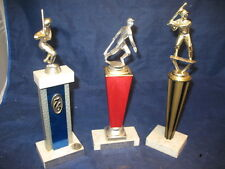 Vintage Retro Baseball Sports Trophy Set of 3 1970s Italian Mable Base