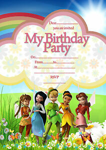 Tinker Bell | Disney Fairies birthday party invitations pack 8 thick cards