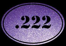 Euro Oval Decal Sticker .222 Bullet Ammo swift Rifle Gun Case Glitter Purple