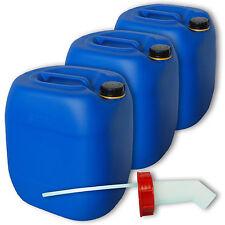 3er Pack 30 Liter Kanister  blau  aus Kunststoff Zubehör Deckel Schnellausgießer