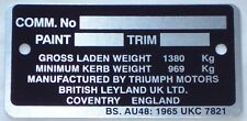 Commission Number Plate For Triumph TR6 TCP1008
