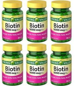 Biotin 5000mcg 6 X 120 = 720 Cápsulas Blandas Piel / Pelo / Uña Muy Fresh