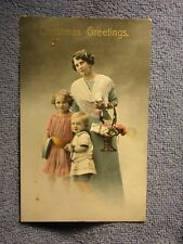 Vintage Postcard Christmas Greetings, Mother With 2 Children