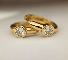 Bezel Round 5 mm Off White Moissanite 10k Solid Yellow Gold Huggie Hoop Earrings
