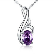 925 Solid Sterling Silver Oval Lab Amethyst Pendant Gemstone Necklace for Women