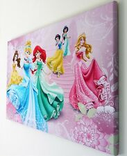 DISNEY PRINCESS PINK CANVAS PRINT WALL ART PICTURE 18 X 32 INCH