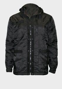 Mens Size Medium Black Hooded Quilted Jacket coat zip up fastening casual hood