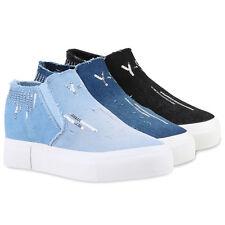 Damen Sneaker-Wedges Denim Pailletten Keilabsatz Sneakers 79952 Schuhe