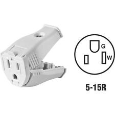 100 Pk Leviton White 15A 3-Wire 2-Pole Clamp Tight Cord Connector 002-3W102-0WH