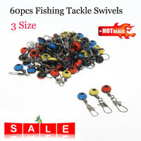 60pcs Fishing Tackle Running Ledger Slider Deads Snap Links Swivels 3 Size Kit