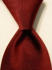 PAUL STUART Men's 100% Silk Necktie USA Designer SOLID STRIPED Burgundy GUC