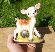 More details for vintage 1950s japanese pottery fawn thermometer