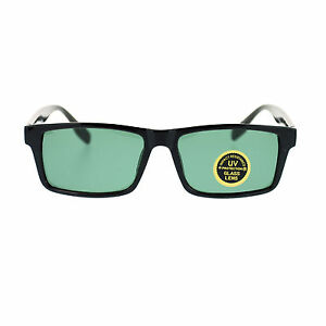 Mens Tempered Glass Lens Classic Narrow Rectangular Plastic Frame Sunglasses