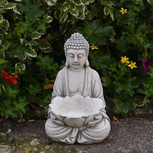 Massiver Stein Buddha mit Schale Tempelwächter Gartendeko Raumdeko frostfest
