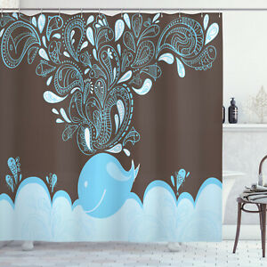 Printed Cloth Shower Curtain Water Resistant Fabric Set & Hooks by Ambesonne