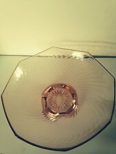 Pink depression glass Imperial twisted optic console bowl