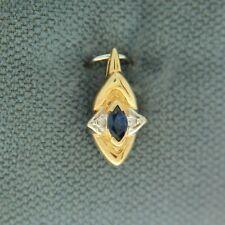 Sapphire Diamond 10K Yellow Gold Pendant Brand New