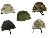 Army Helmet + Cover Us M1 Replica Combat Hat Boys Adults MTP Camo WW2 Vietnam UK