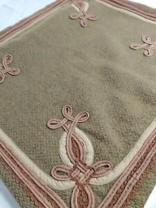 """Ralph Lauren Wool Throw Pillow Cover Olive/Mauve/Beige 18"""" Square Adriana??(#71)"""