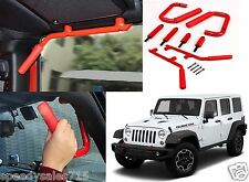 Red Front & Rear Grab Bar Handles For 2007-2017 Jeep Wrangler JK New Free Ship