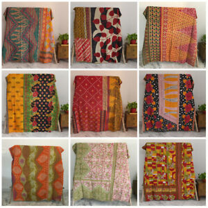 Vintage Kantha Quilt Indian Gudari Lot Boho Reversible Throw Bedding Ralli Throw