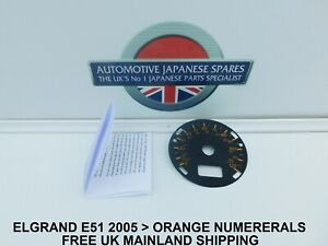 FITS NISSAN ELGRAND E51 HIGHWAY STAR 2005 ONWARDS  KPH TO MPH SPEEDO FACE