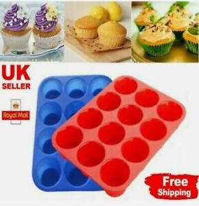 SILICONE LARGE MUFFIN YORKSHIRE PUDDING MOULD BAKEWARE 12 CUP CAKE BAKING TRAY