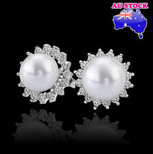 Charming 18K White Gold Plated Sun Flower Shape Pearl Earrings with Zirconia