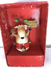 Mud Pie Santa's Secret Christmas Wine Cork Reindeer w/ Martini & Olives. New !