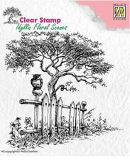 Nellie Snellen/Clear/Floral/Tree/Owl/Fence/Scene/UNMOUNTED/stamp/IFS008