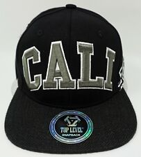 CALI Snapback Cap Hat California Republic Bear Flag Caps Hats Black NWT
