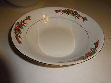 Round Vegetable Bowl Serving Dish - Poinsettia & Ribbons - Tienshan Fine China