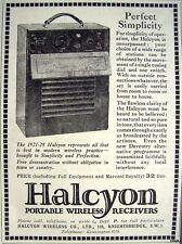 1928 'HALCYON' Portable Wireless Radio Print ADVERT - Small Art Deco Ad Original