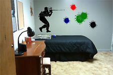 Paintball Shooter and Paint Splatters Wall Sticker Wall Art Decor Vinyl Decal