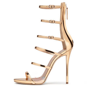 Shoes Women Open Toe High Heels Summer Sandals Strappy Cover Heel Zipper Gold