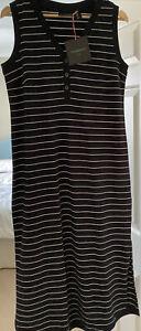 Cynthia Rowley Navy Sleeveless Striped Midi Dress Split Sides Size Medium BNWT