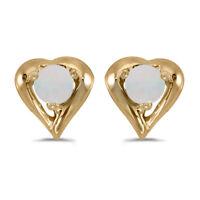 14k Yellow Gold Round Opal Heart Earrings