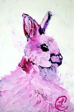 """""""Pink Bunny"""" Contemporary Acrylic Pink Animal Painting on Paper Artist 1990-Now"""