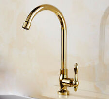 Deck Mounted Brass Kitchen Sink Tap Single Cold Spout Spray Faucet Bathroom Gold
