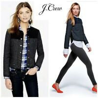 NEW J Crew Donegal Herringbone Quilted Jacket Womens Size 10 Navy Blue Coat