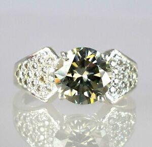 5.32 Ct Champagne Diamond Solitaire Men's Unique Design Ring-Excellent Luster