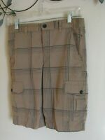 Tony Hawk Boys Youth Size 16 Shorts Brown Plaid Casual Large Net Lined Pockets