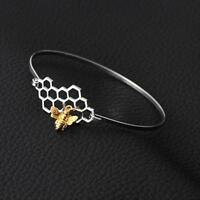 bumble Bee Honeycomb Bangle Bracelet Beehive honey Link Chain gold silver charm