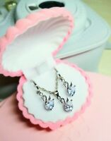Halskette Anhänger Ohrringe Swarovski Kristall Schmuckset+Box Sterlingsilber 925