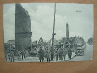 VINTAGE WWI POSTCARD FRANCE 1915 RETHEL RUINS WITH FRENCH ARMY - FELDPOST