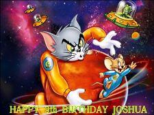 """Paquete De Fiesta-Tom Y Jerry personalizado de 10 X 7.5"""" Glaseado Cake Topper"""